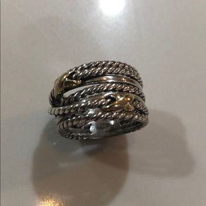 David Yurman Double X Crossover Ring with 18K Gold